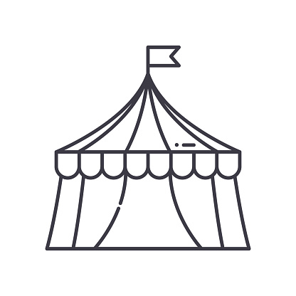 Circus tent icon, linear isolated illustration, thin line vector, web design sign, outline concept symbol with editable stroke on white background.