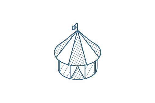 Circus tent isometric icon. 3d line art technical drawing. Editable stroke vector
