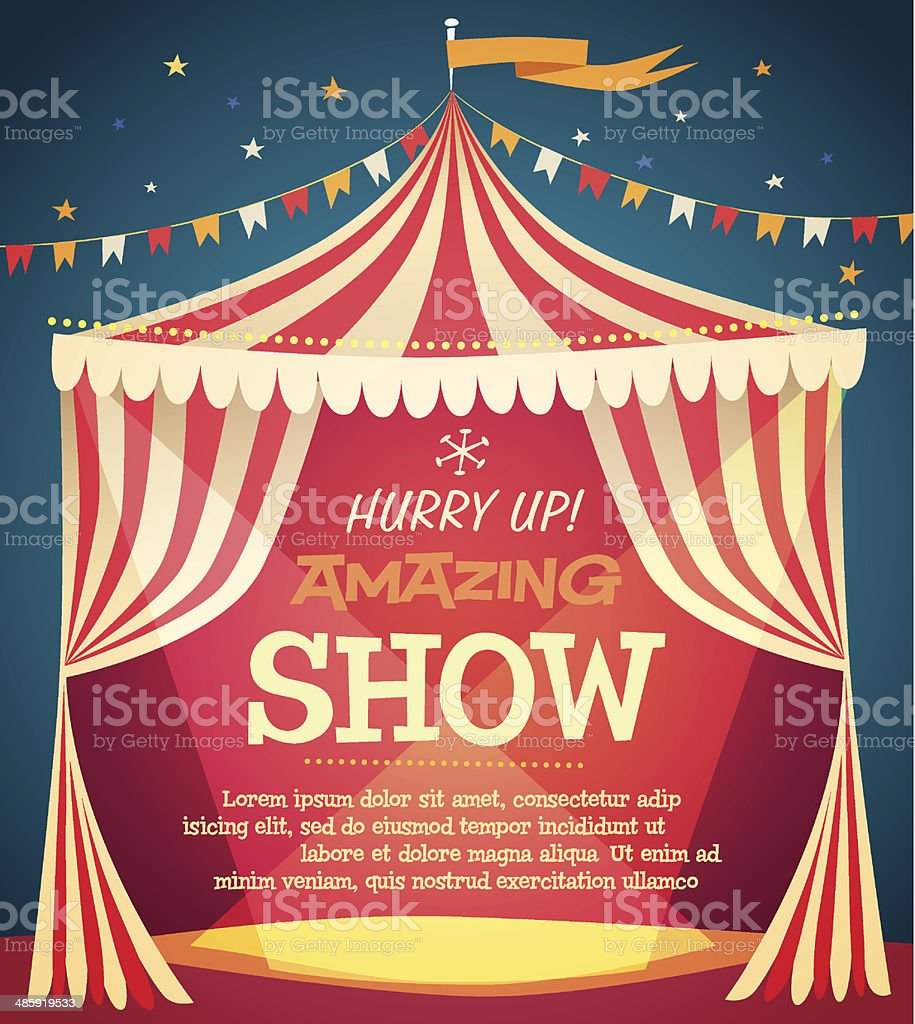 Circus tent poster vector art illustration
