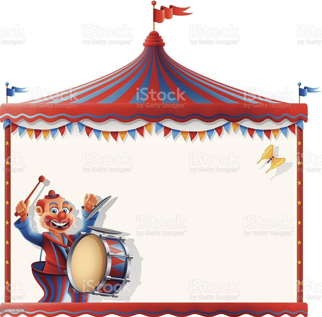 Circus Tent Sign with Drummer Clown royalty-free stock vector art