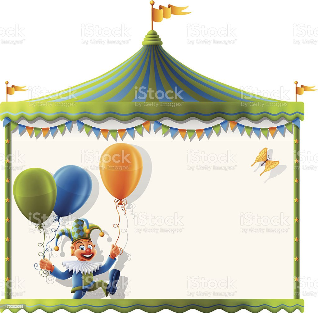 Circus Tent Sign with Happy Clown royalty-free stock vector art