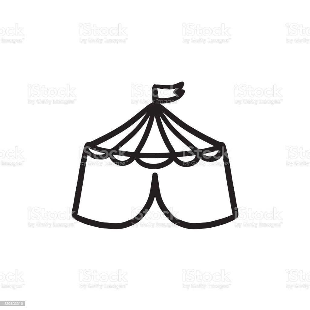 Circus tent sketch icon vector art illustration