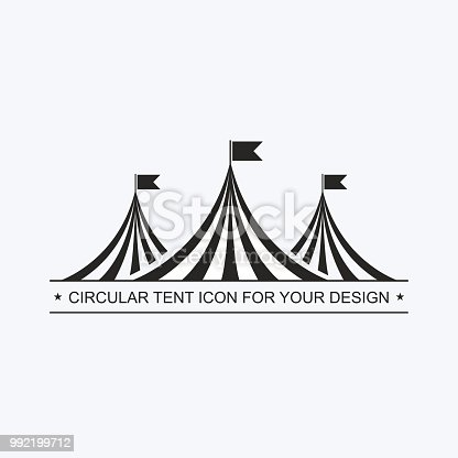 Circus tent template. Invitation to event, presentation. Circus building, circus hut awning, with balls, decoration, shapito, exterior appearance. pictogram Vector icon