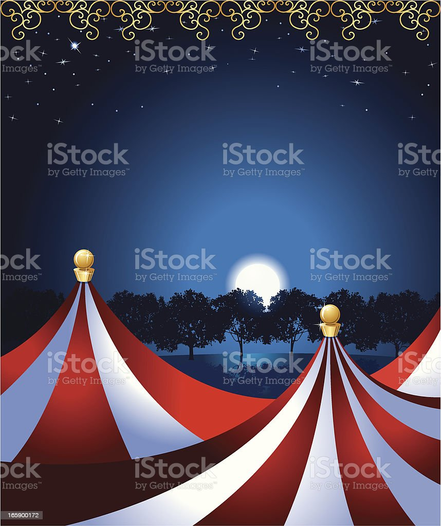 Circus Tent Under the Moonlight vector art illustration