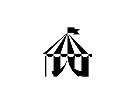 Circus tent vector icon. Isolated carnival tent flat symbol
