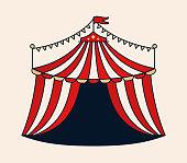 Circus tent line drawing design illustration.