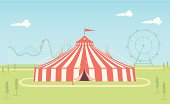 An illustrated scene of fairground on a bright day with circus tent, roller coaster and ferris wheel. This is an easy to edit vector illustration with CMYK color space. Each element on the fairground is on a separate layer and can be easily edited.