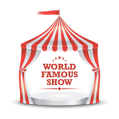 Circus Tent Vector. Red And White Stripes. Cartoon Circus Classic Marquee Tent. Isolated Illustration