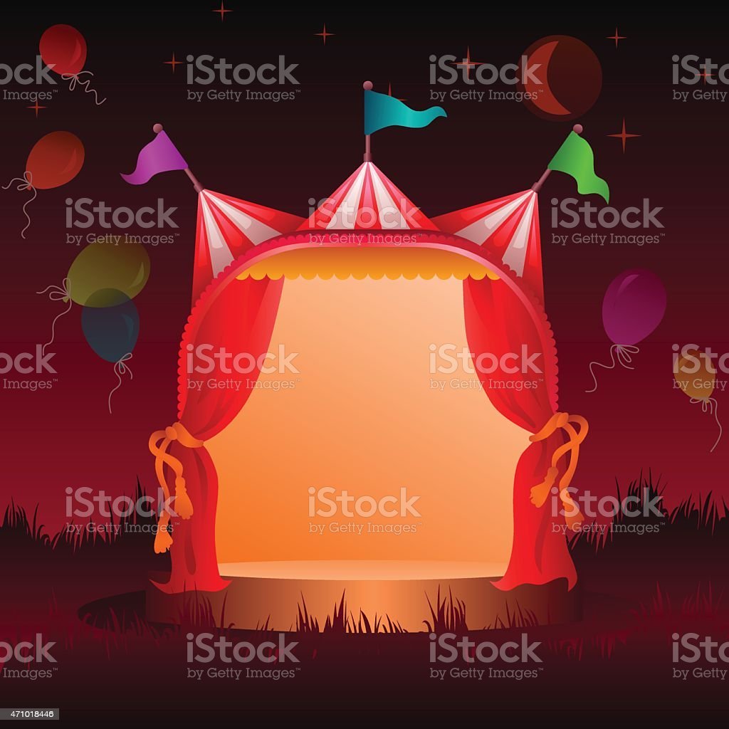 circus tent with balloons at night vector art illustration