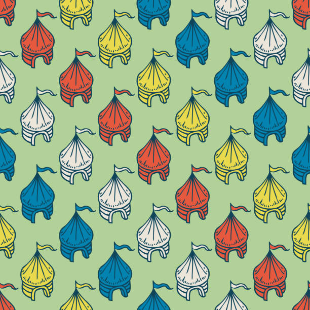 circus tents seamless pattern - bedouin tent stock illustrations, clip art, cartoons, & icons