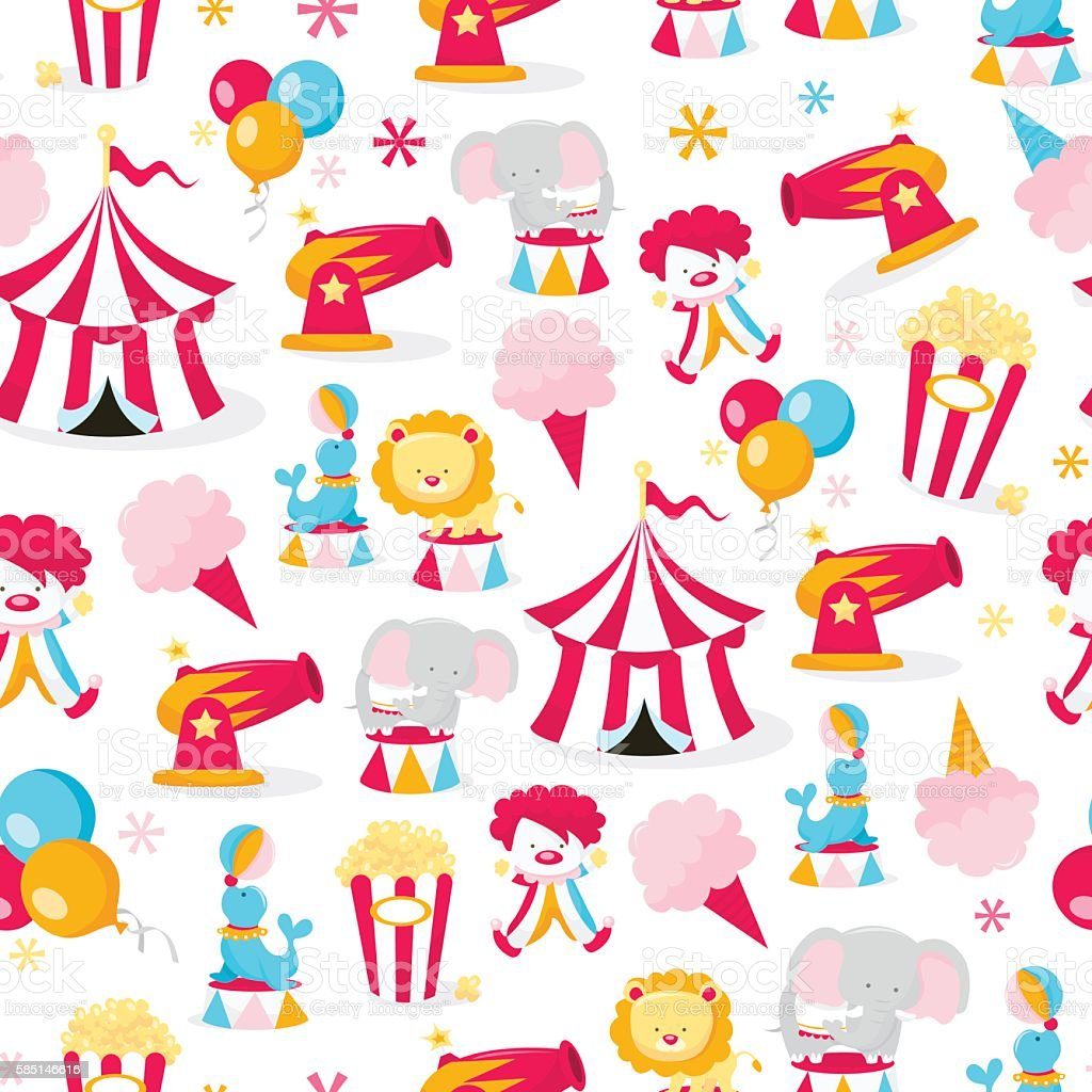 Circus Theme Seamless Pattern Background vector art illustration