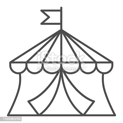Circus thin line icon, Amusement park concept, circus tent sign on white background, Round Tent with flag icon in outline style for mobile concept and web design. Vector graphics