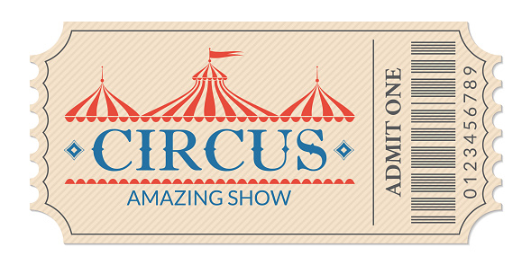 Circus ticket. Amazing show. Retro card with carnival tent or marquee. Admit one coupon. Vector illustration.