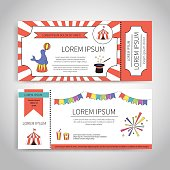 Circus tickets design. Magic show with trained animals entrance tickets templates set. Abstract design. Front and back side vector template