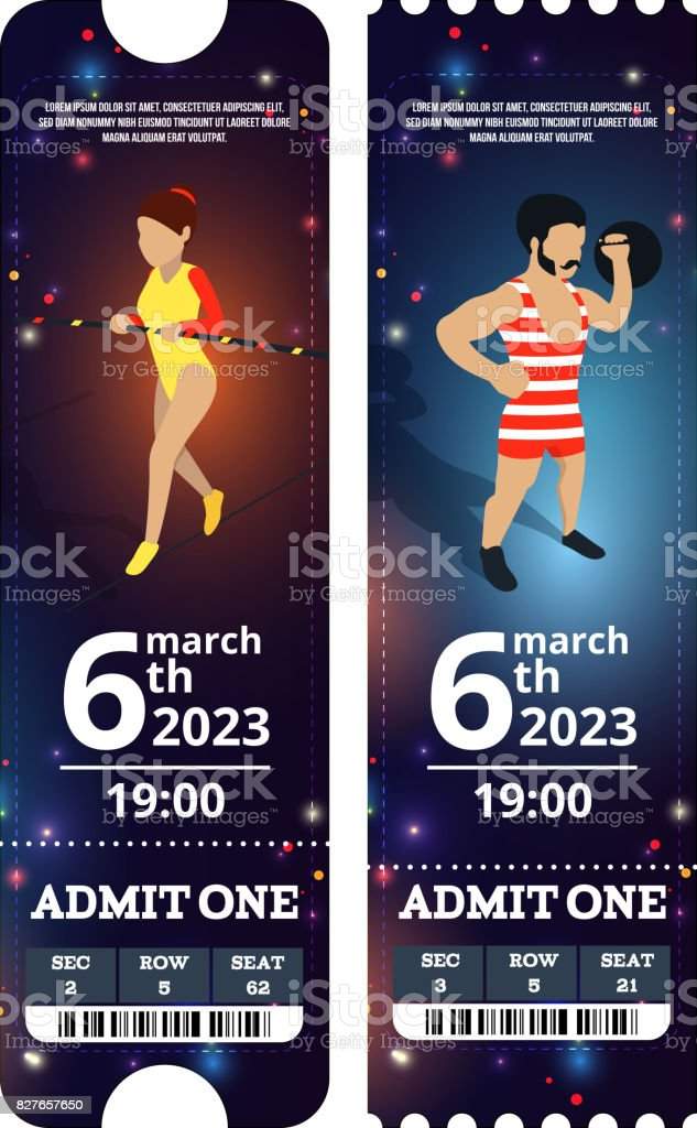 Circus tickets design. Vector illustrations in cartoon style