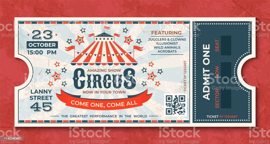 Circus tickets. Vintage carnival event banner, retro luxury coupon with marquee and party announcement. Vector circus greeting card - Векторная графика Баннер - знак роялти-фри