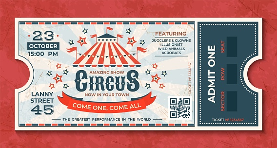 Circus Tickets Vintage Carnival Event Banner Retro Luxury Coupon With Marquee And Party Announcement Vector Circus Greeting Card — стоковая векторная графика и другие изображения на тему Баннер - знак