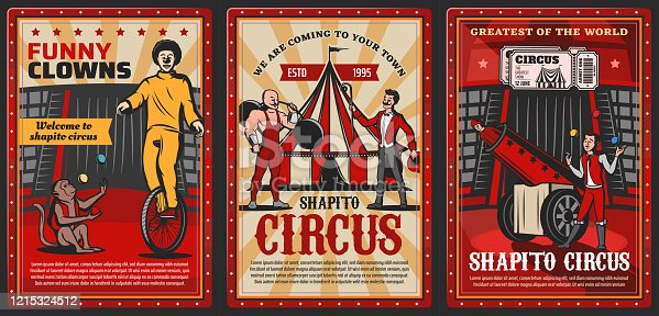 Circus performers on chapiteau top tent arena vector posters of carnival show. Clown, acrobat and juggler, trained monkey animal, strongman, rocketman and barker with circus tickets, barbell and balls