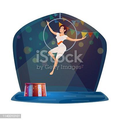 Circus acrobat woman on aerial hoop ring. Big top circus acrobatic gymnastics show performance on cartoon arena