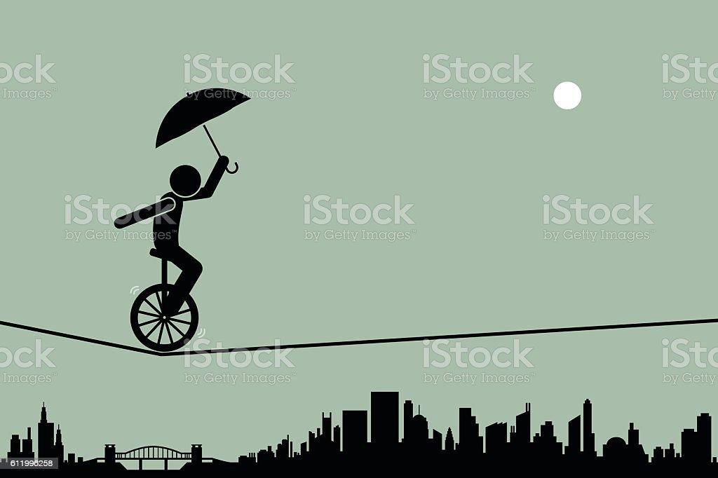 Circus Unicycle向量藝術插圖