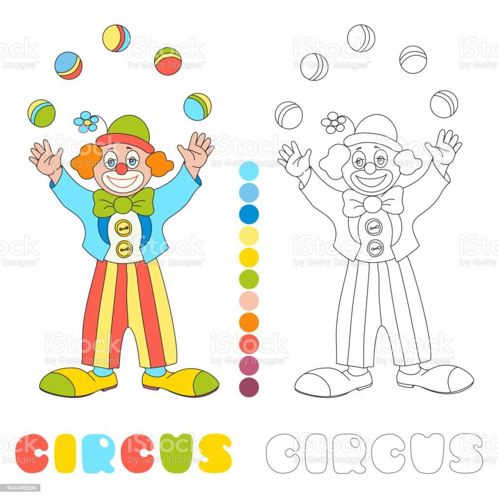 Kleurplaten Carnaval Clowns.Juggler Van De Clown Van Het Circusvector Fotoboekpagina Kleurplaten