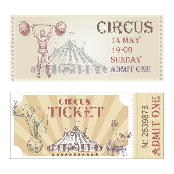 illustrazioni stock, clip art, cartoni animati e icone di tendenza di circus vector horizontal tickets front side. - funfair entrance