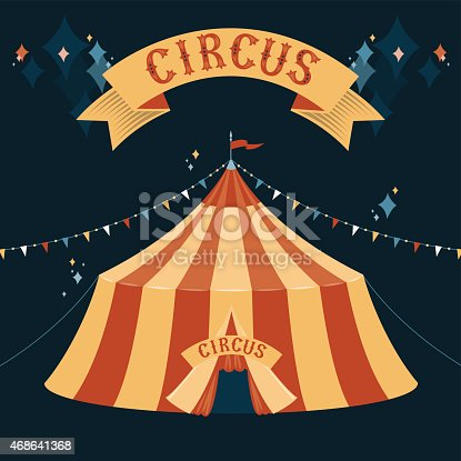 The dome of the circus tent. Vector illustration on dark background