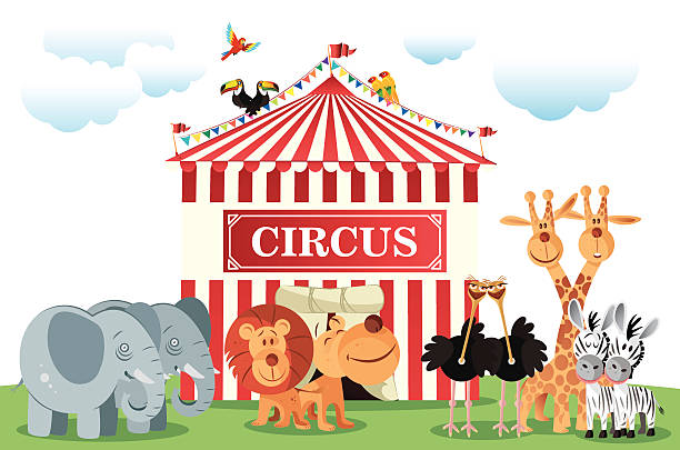 circus - giraffenkostüm stock-grafiken, -clipart, -cartoons und -symbole