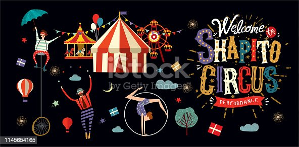 Circus! Vector illustration on a poster or banner for a circus show with acrobats, magicians and clowns. Welcome to the performance!