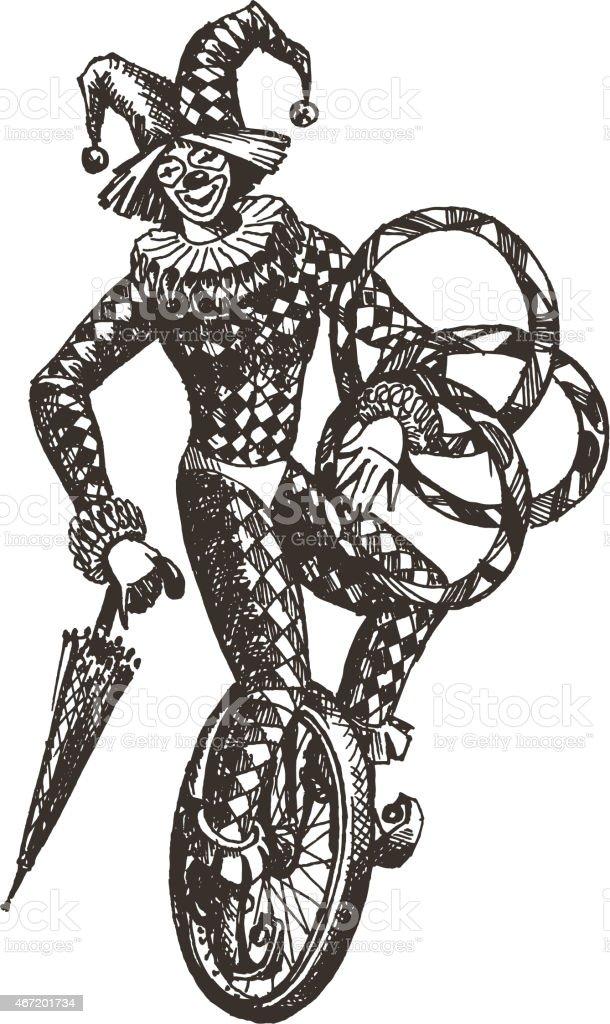 circus vector logo design template. clown icône ou arlequin - Illustration vectorielle