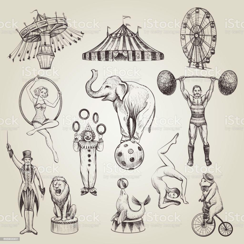 Circus vintage hand drawn vector illustrations set. - Векторная графика Акробат роялти-фри