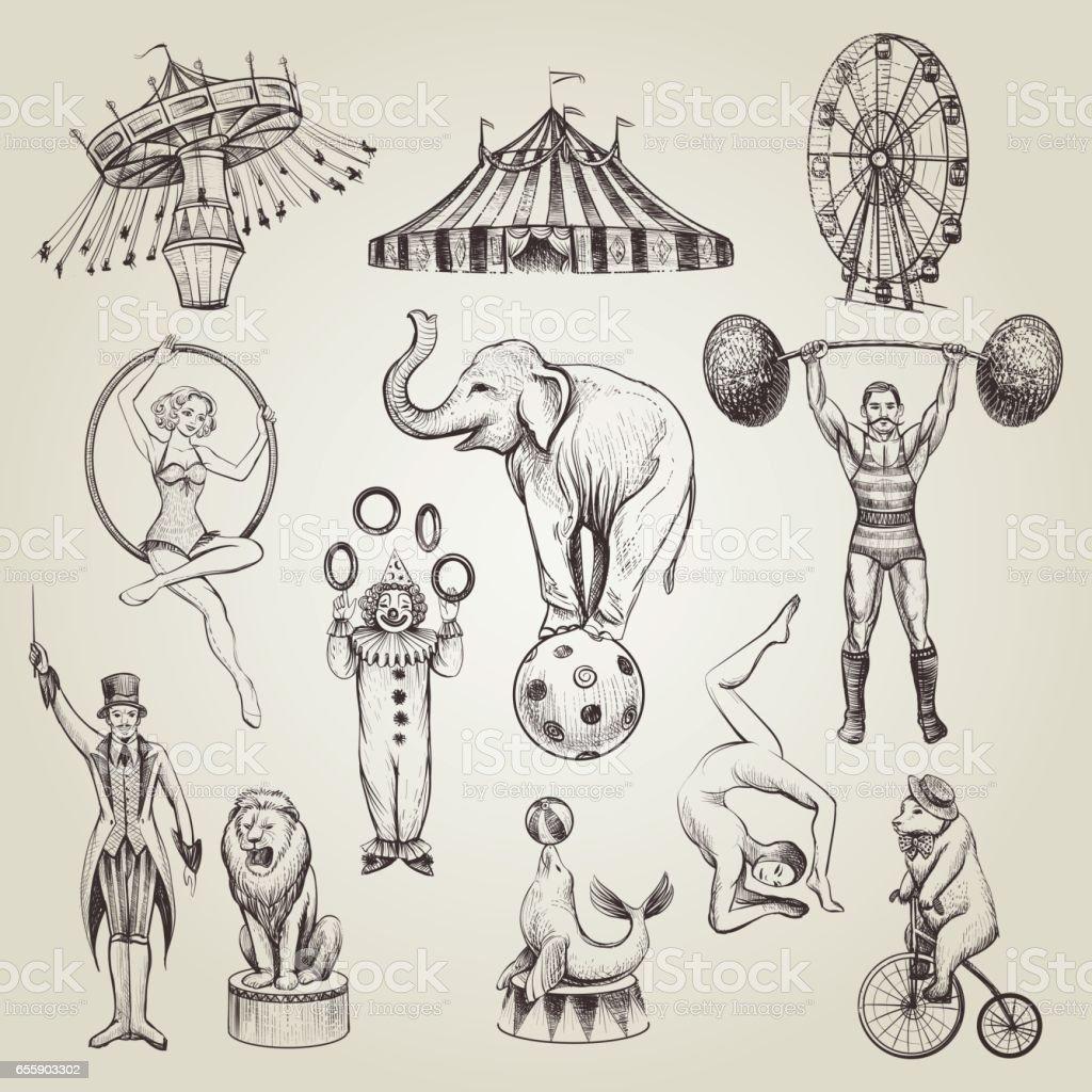 Circus vintage hand drawn vector illustrations set.