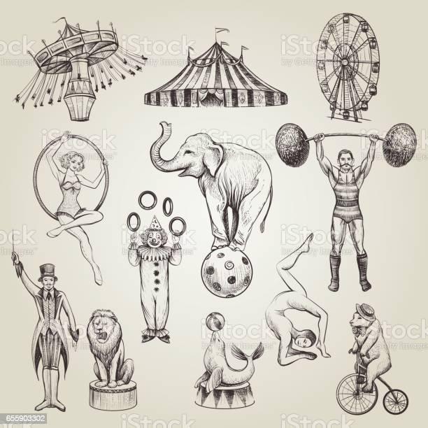 Circus vintage hand drawn vector illustrations set vector id655903302?b=1&k=6&m=655903302&s=612x612&h=jyakfvrz19pdsxipqkxlcy1v6j8vrasrviojhpq9wp8=