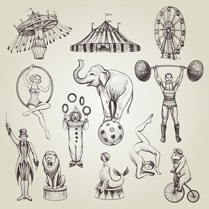 Circus Vintage Hand Drawn Vector Illustrations Set — стоковая векторная графика и другие изображения на тему Акробат