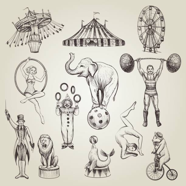 circus vintage hand drawn vector illustrations set. - gymnastics stock illustrations, clip art, cartoons, & icons