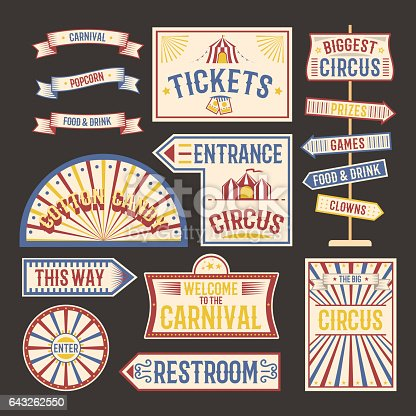 Circus label carnival show. Elements for design on the party theme. Collection of symbols modern emblems and logos fun tag graphic vector illustration