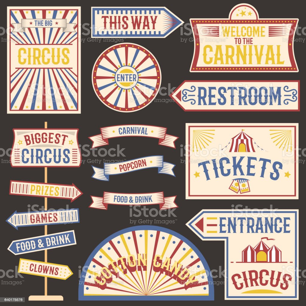 Circus vintage labels banner vector illustration. ベクターアートイラスト