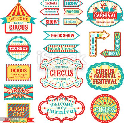 Circus vintage signboard labels banner vector illustration isolated on white entertaining banner sign