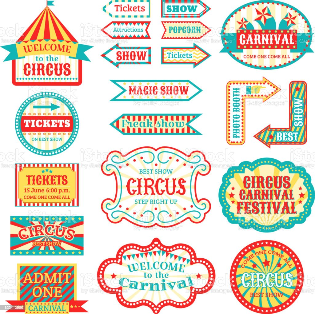 Circus vintage signboard labels banner vector illustration isolated on white entertaining banner sign vector art illustration