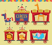 A vector illustration of a horse pulling circus wagons.