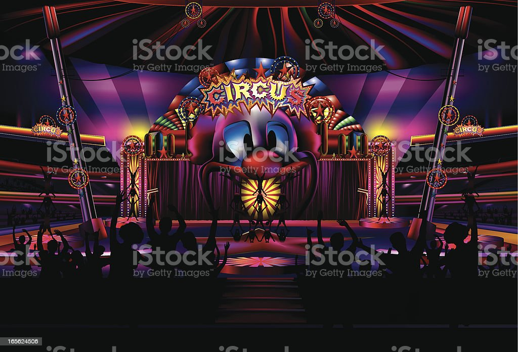 Circus with Audience vector art illustration
