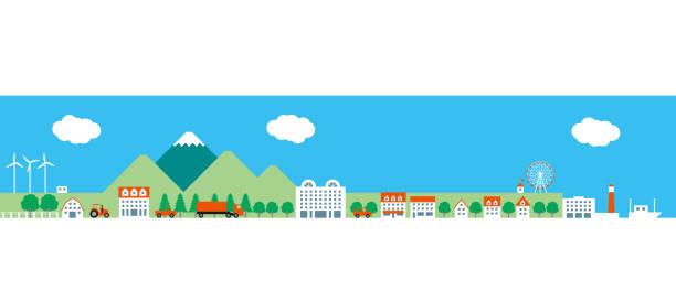都市と農業ゾーンとポート - 町点のイラスト素材/クリップアート素材/マンガ素材/アイコン素材