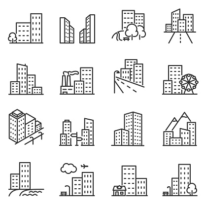 Cities and city buildings, a set of icons in a linear design. Editable stroke clipart