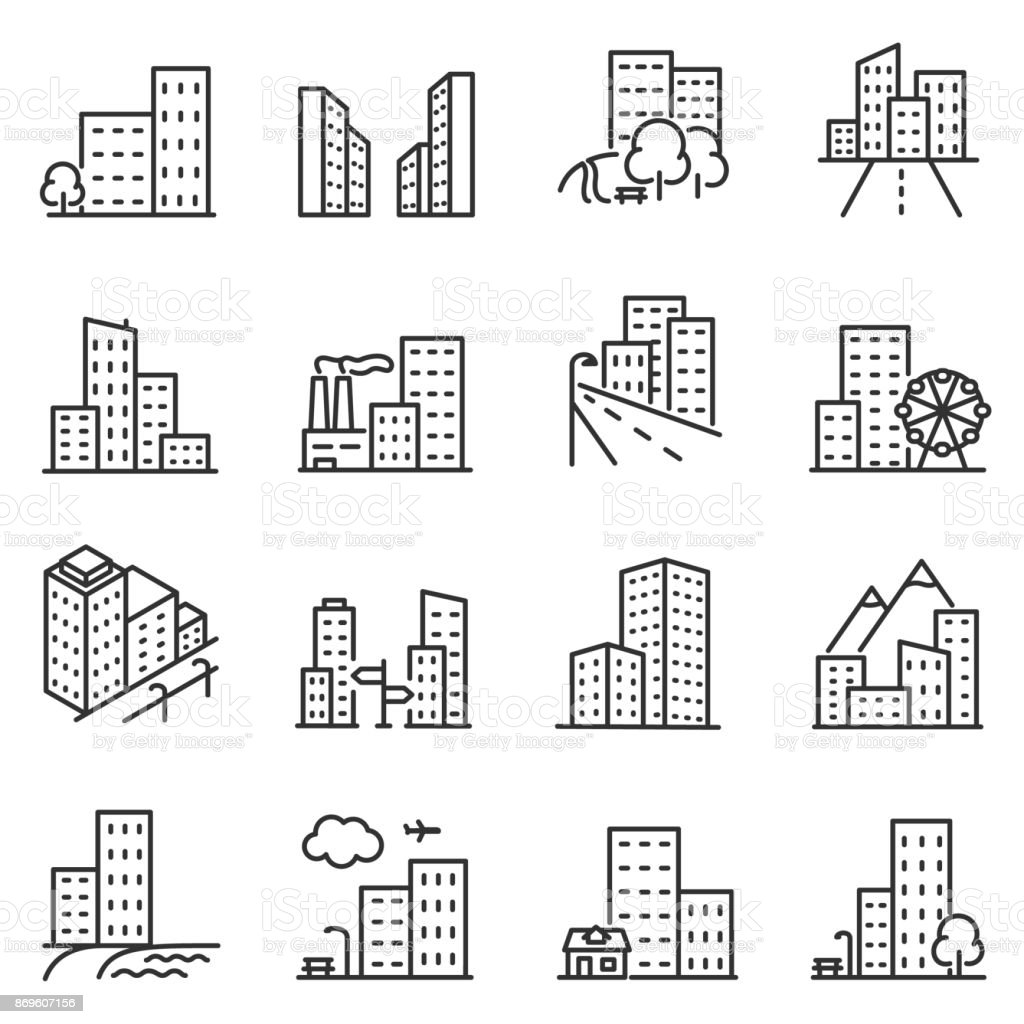 Cities and city buildings, a set of icons in a linear design. Editable stroke – artystyczna grafika wektorowa