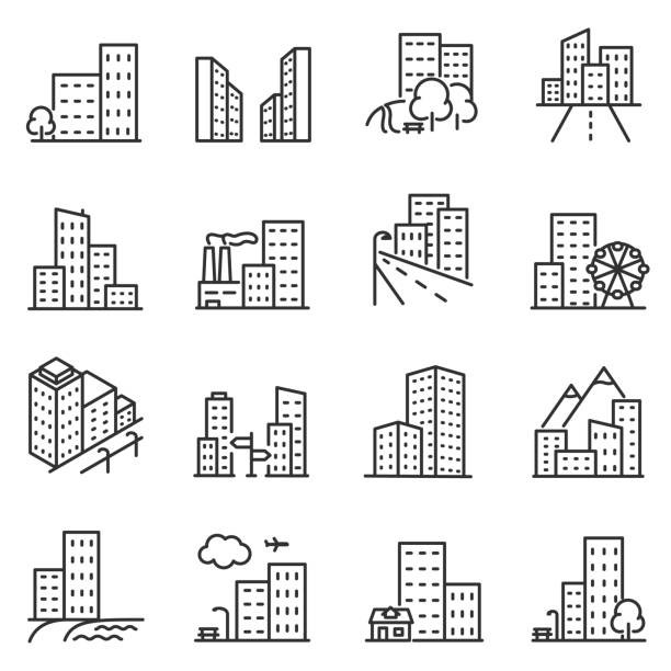 cities and city buildings, a set of icons in a linear design. editable stroke - konstrukcja budowlana stock illustrations
