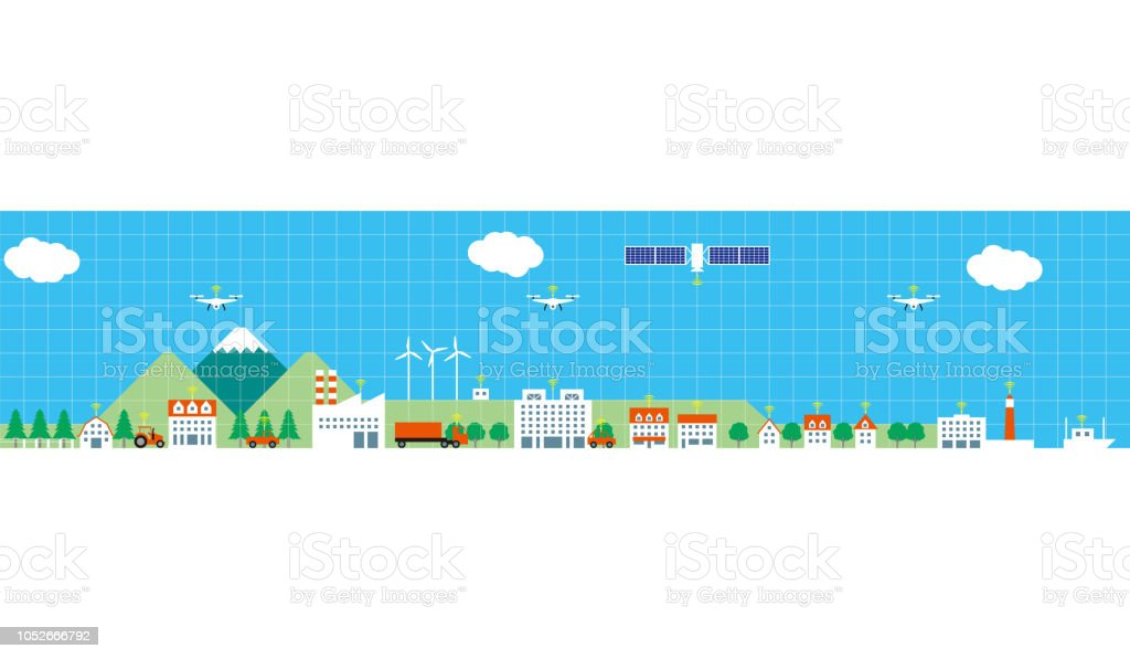 Cities and provinces connected by information and communication technology vector art illustration
