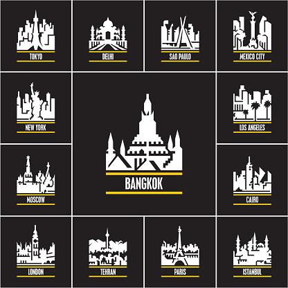 cities at night, cityscape icons