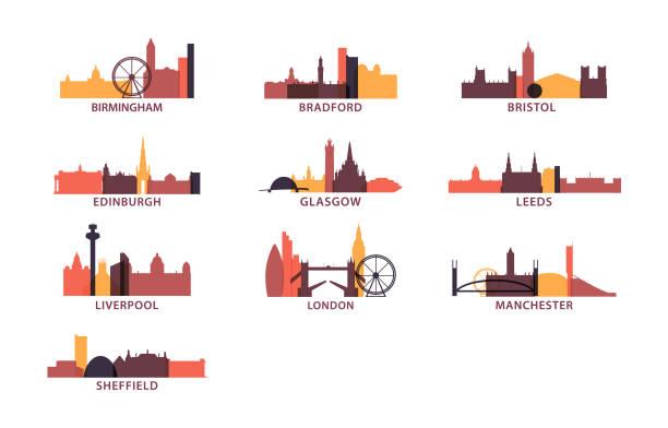 ilustrações de stock, clip art, desenhos animados e ícones de uk cities icons set skyline vector pack - londres