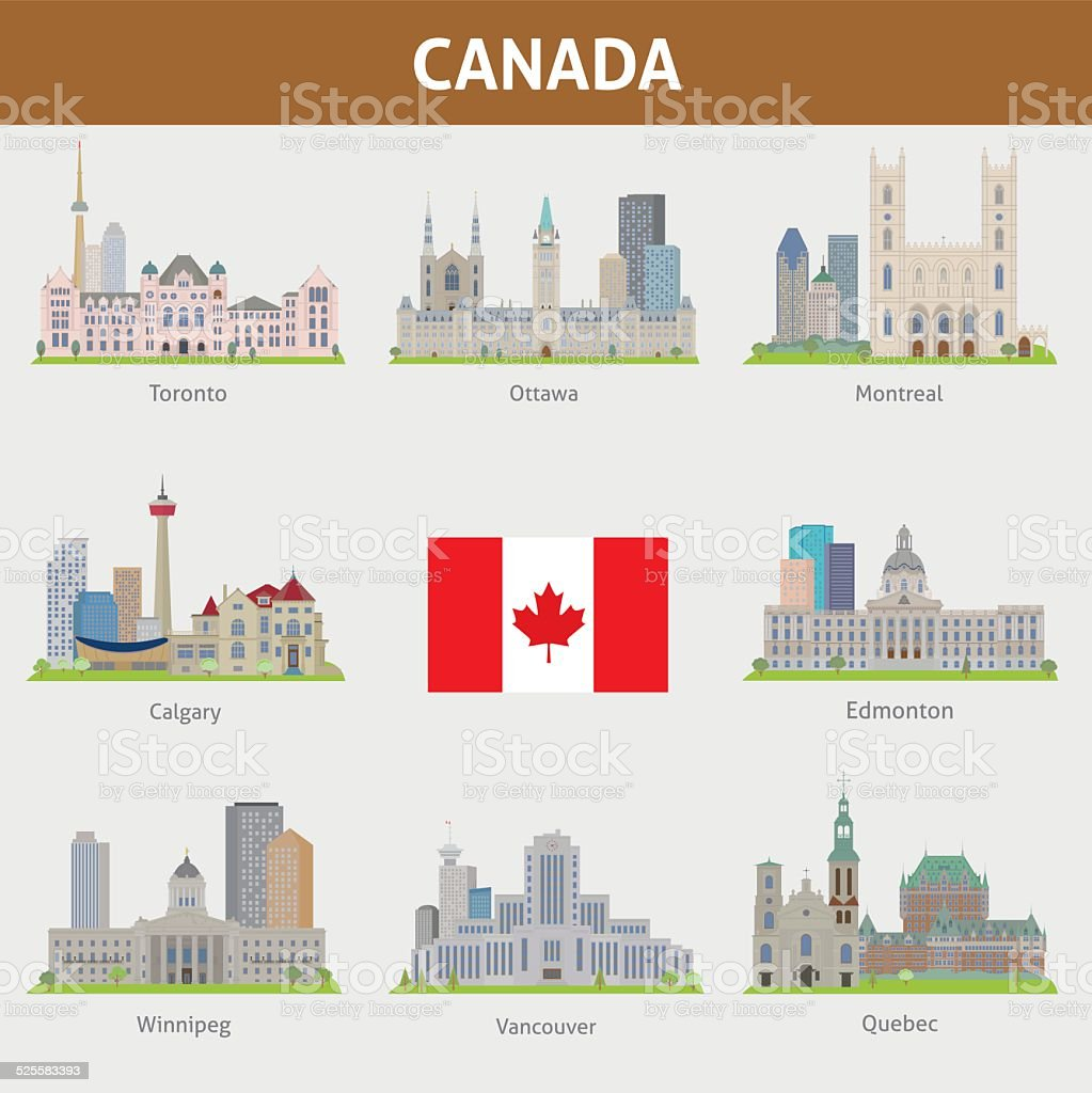 Cities in Canada vector art illustration
