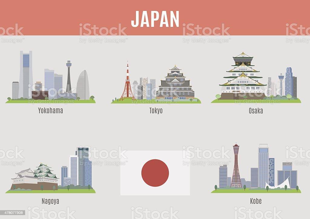 日本の都市 ベクターアートイラスト